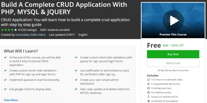 100% Off] Build A Complete CRUD Application With PHP, MYSQL