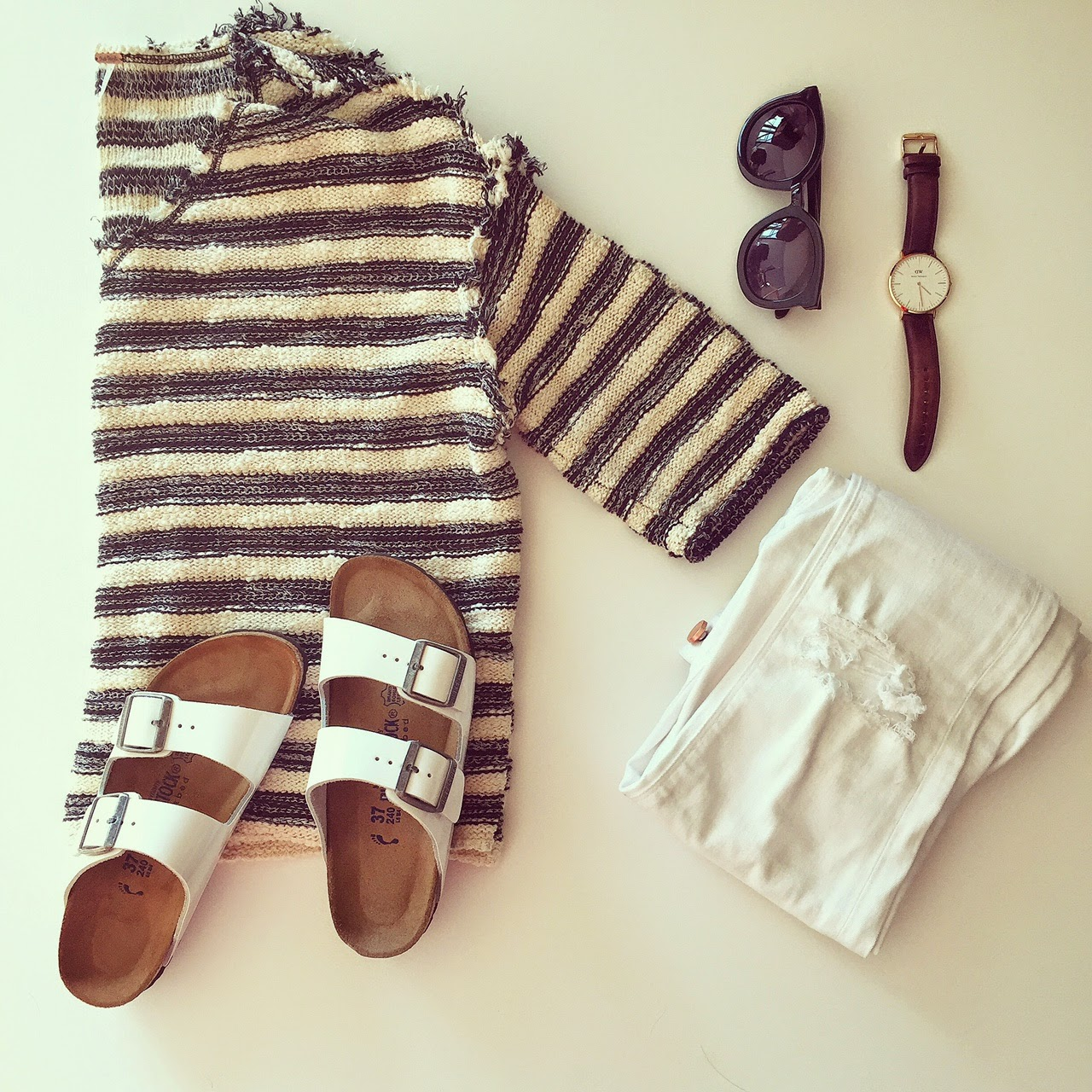 Free people stripe top, birkenstock, kanren walker super duper sunglasses, Daniel wellington watches, asos ripped white jeans, fashion blog