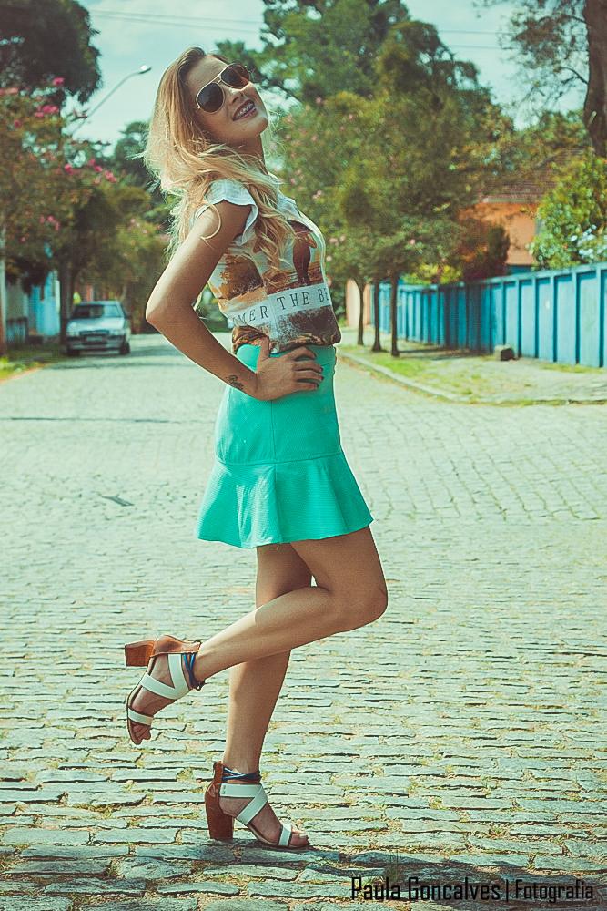 Look saia sino + t-shirt - Blog Ally Arruda - Aline Arruda