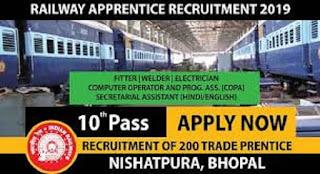 West Central Railway Apprentice Recruitment 2019 Trade Prentice (Bhopal)