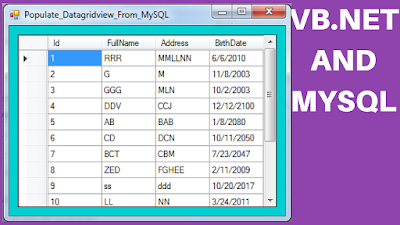 Fill Datagridview From MySQL Using Vbnet