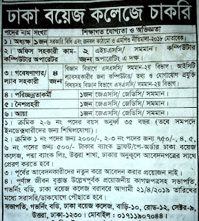 Dhaka boys college job circular 2019. ঢাকা বয়েজ কলেজ নিয়োগ বিজ্ঞপ্তি ২০১৯