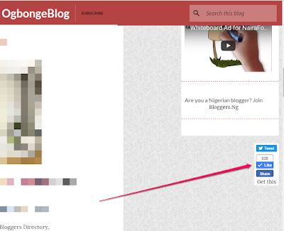 floating facebook like button for blogger blog