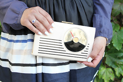 Kate Spade Clutch and Striped Cupcake Skirt