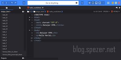 Tampilan Teks Editor Komodo Edit