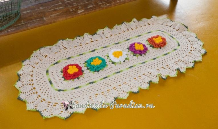 Овальная салфетка с красочными цветами (4)