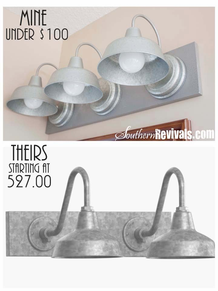 Diy Triple Galvanized Gooseneck Vanity Light Fixture For