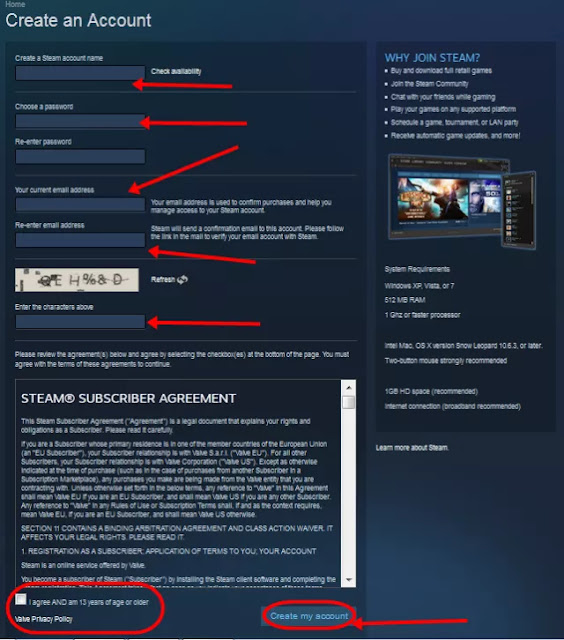 Creat Account Steam Free