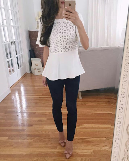 White laces Top with tights
