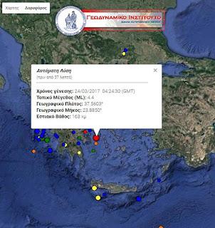 Σεισμός 4,4 Ρίχτερ στην Αττική