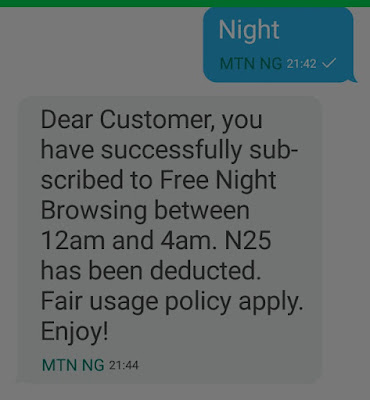 How to subscribe for the Mtn night data plan