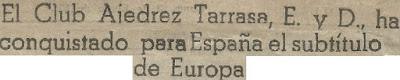Recorte de prensa sobre el Campeonato de Europa Occidental por equipos 1954