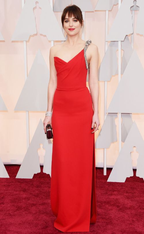 Dakota Johnson in Saint Laurent at the Academy Awards 2015