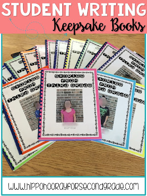 Keep your students' published writing pieces from throughout the year and bind them into a finished book. It will be a great keepsake for your kiddos to remember the year they spent with you. Blog post includes a freebie table of contents, dedication page, and about the author page.