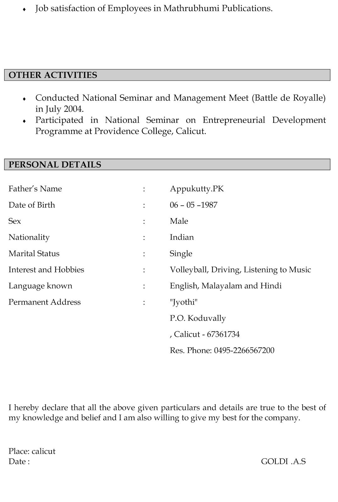 make a resume to exons tk category curriculum vitae