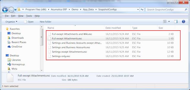 Acumatica Snapshot Configurations Folder