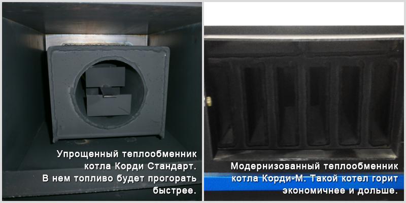 Разница в теплообменниках линеек котлов Корди-М и Стандарт