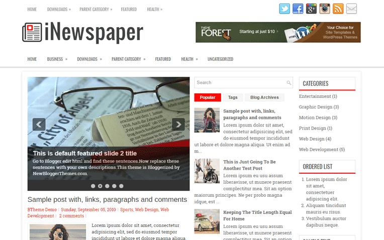 iNewspaper Free Blogger Template