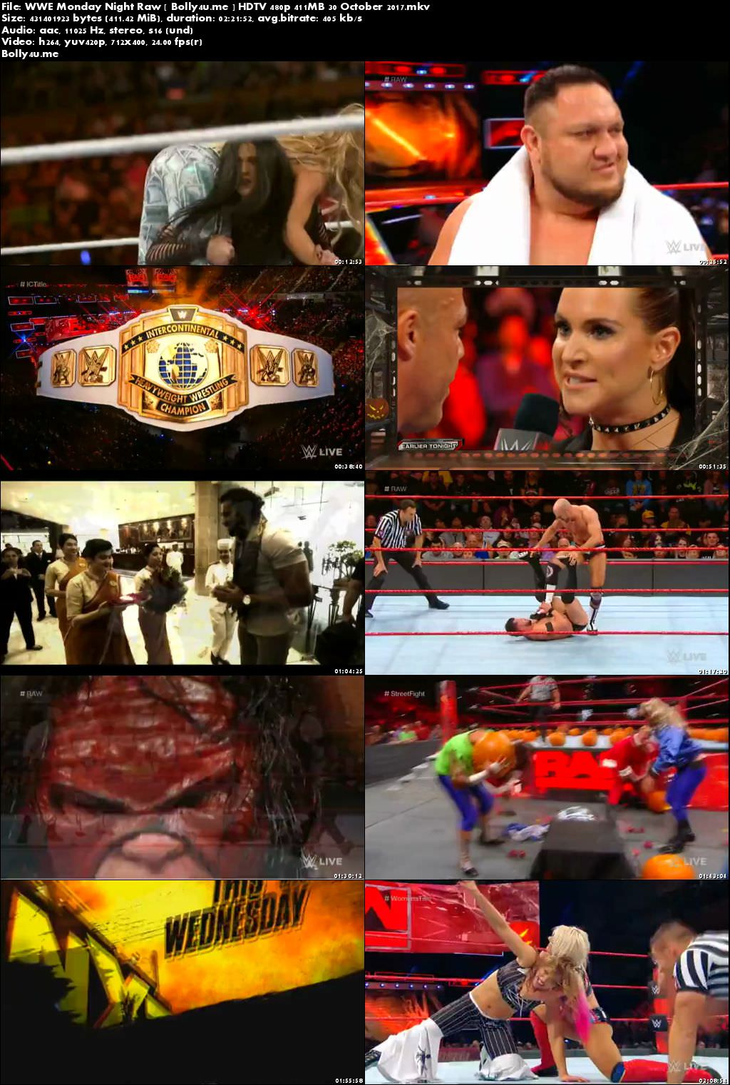 WWE Monday Night Raw HDTV 480p 400MB 30 October 2017 Download