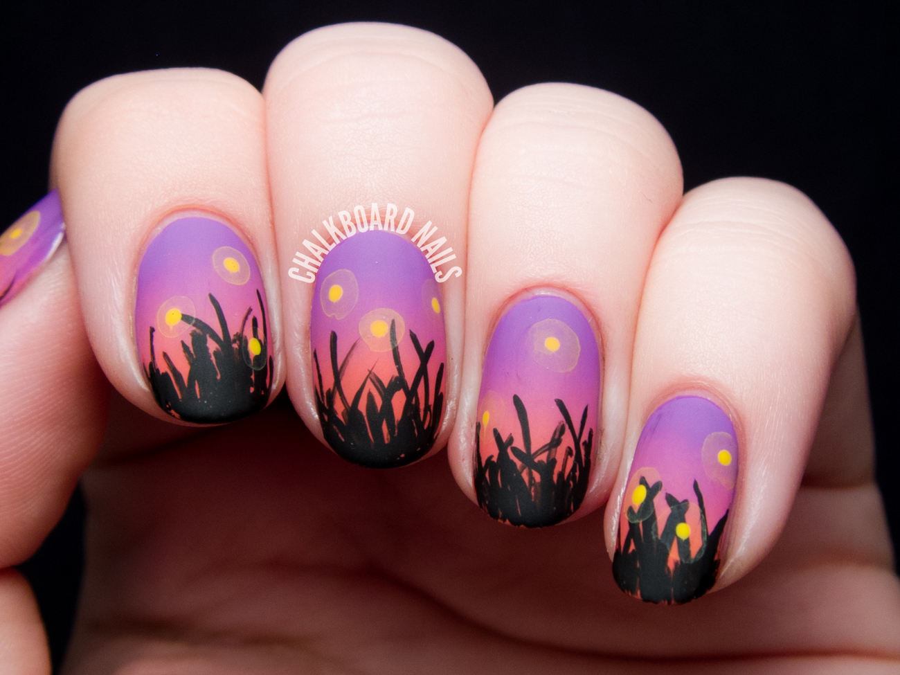 Fireflies in the Field at Sunset | Chalkboard Nails | Nail ...