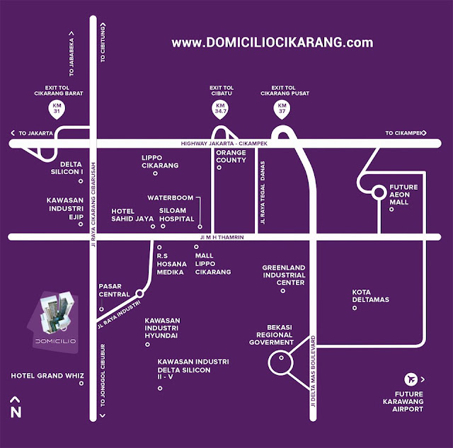 Peta Lokasi Apartemen Domicilio Cikarang Bekasi