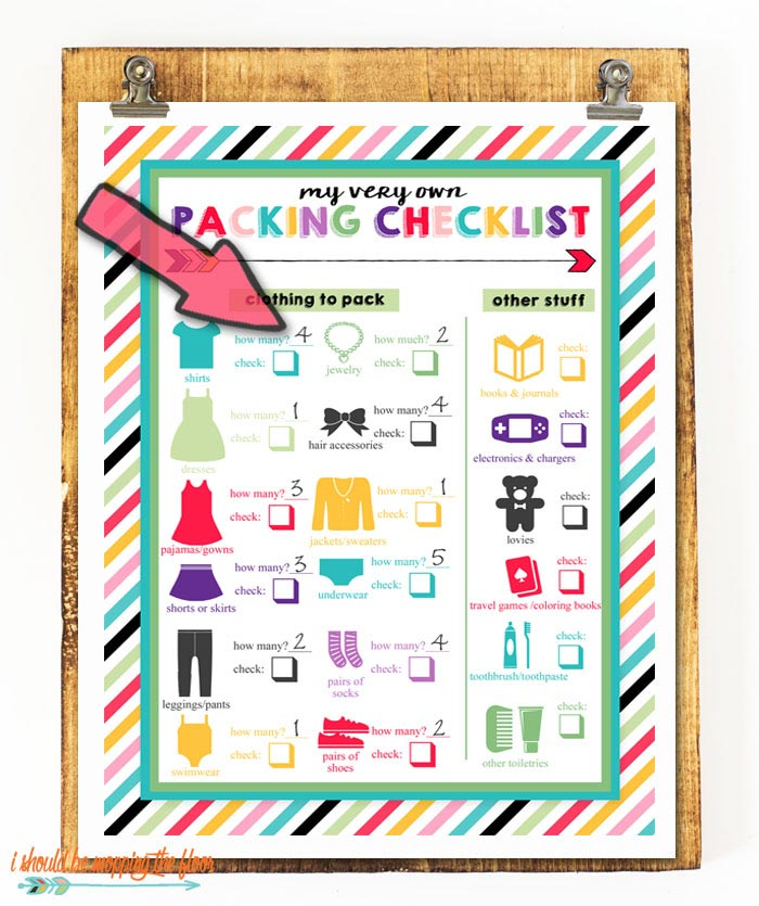 Free Printable Packing List for Kids