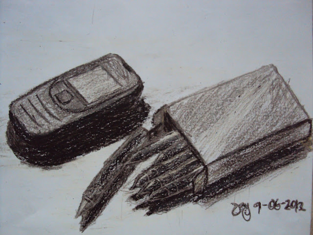 Cellular phone and a box of crayon- Original Work