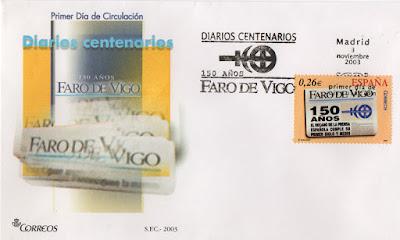 Sobre PDC del sello del 2003 dedicado al diario centenario de el faro de Vigo