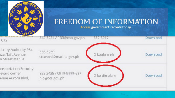 "PCOO gets flak for publishing ""di ko alam"" entries on FOI website"