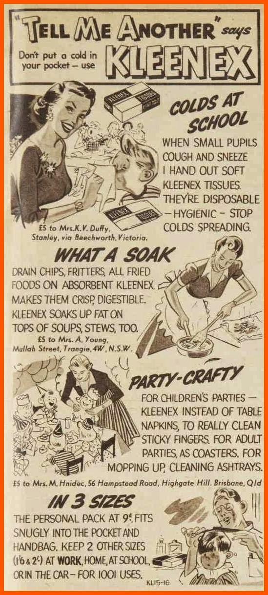 Kleenex tissue ad, 1955