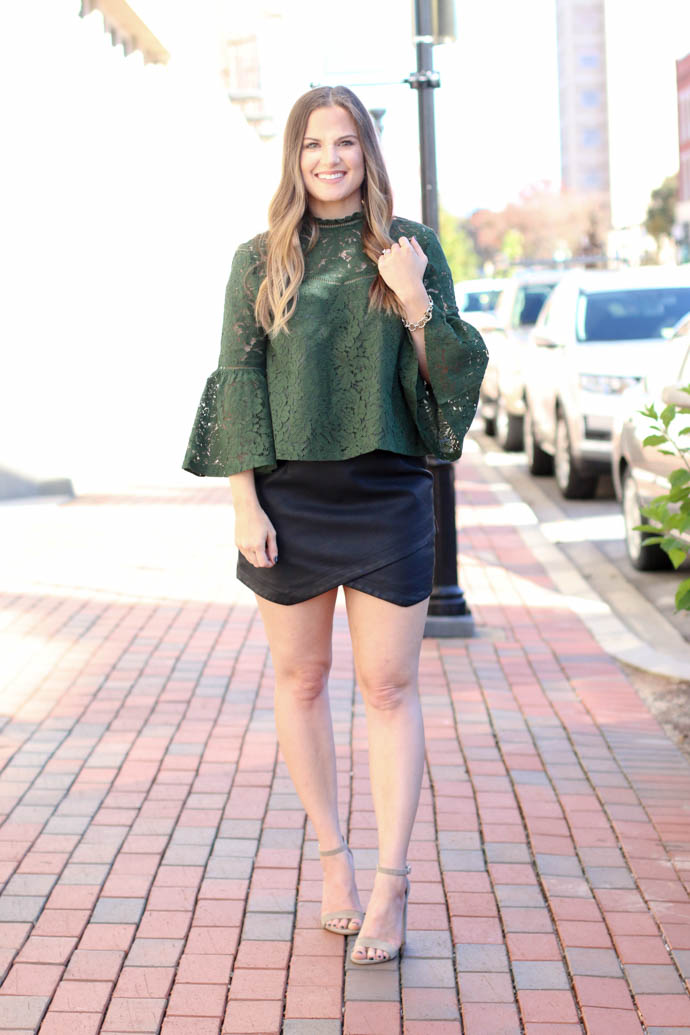 bb dakota green lace top, bb dakota leather mini, holiday party outfit 2017, holiday outfit, girl(ish), the girlish blog, amanda sumner
