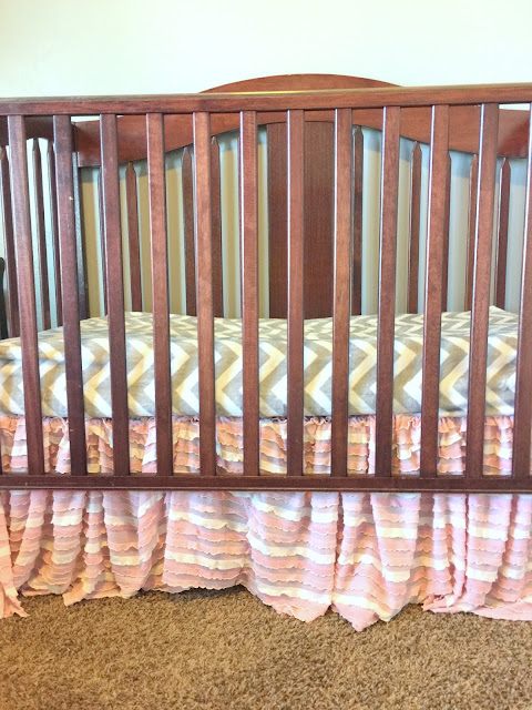 Pink and Cream Ruffle Crib Skirt for Baby Girl Nursery