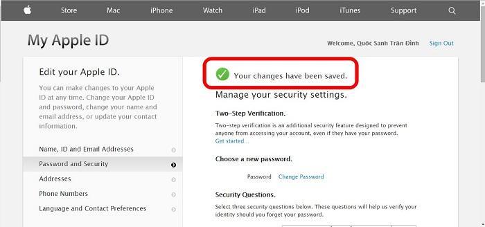 Hướng dẫn cách đổi mật khẩu tài khoản iCloud