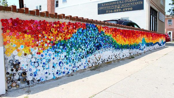 Beautiful Mosaic From Caps Left By Hurricane Sandy