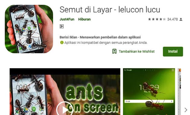 Trend dan Kekinian, Aplikasi Semut di Layar untuk Ngerjain Teman