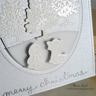 White Christmas Card Lawn Fawn & Fiskars by Maria Byrd | CraftsyByrd.blogspost.com