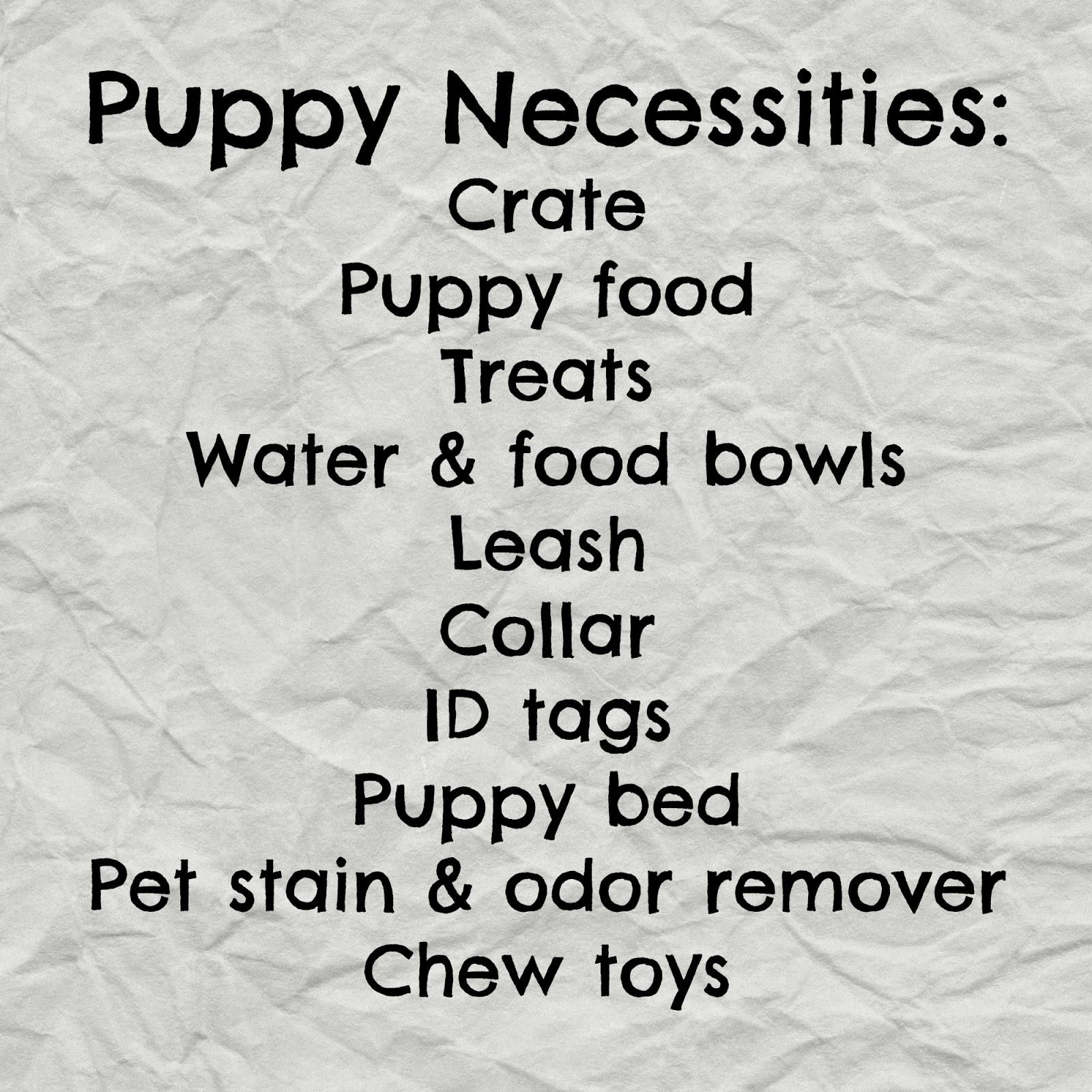 Puppy Shopping Checklist