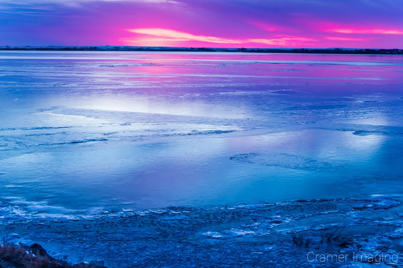 Cramer Imaging's fine art landscape photograph of the American Falls, Idaho reservoir in the winter at sunset