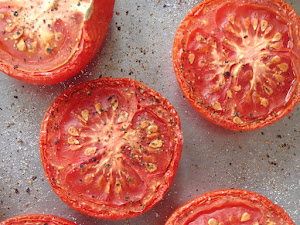Roasted toms, hot out of the oven and onto toast toot sweet