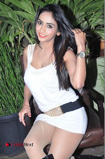Actress Model Pooja Sri Stills in White Short Dress at F Club pre soft Launch  0110.JPG