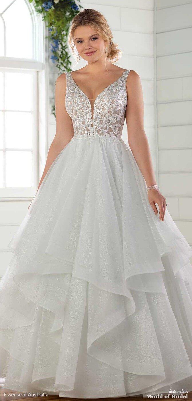 754b4d774db61 Essense of Australia Spring 2019 Ballgown Wedding Dress with Glitter Tulle