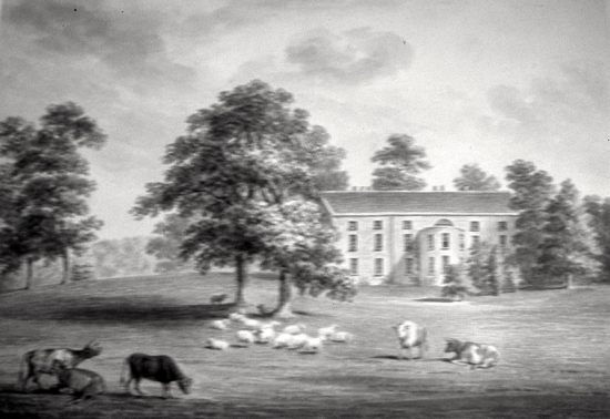 Fig.4. Sketch of the view of the garden front, c.1800. (Courtesy of the Hertfordshire Records Office)