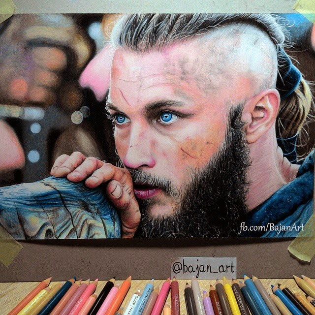 17-Ragnar-Lodbrok-Vikings-Łukasz-Andrzejczak-Colored-Pencil-WIP-Drawings-www-designstack-co