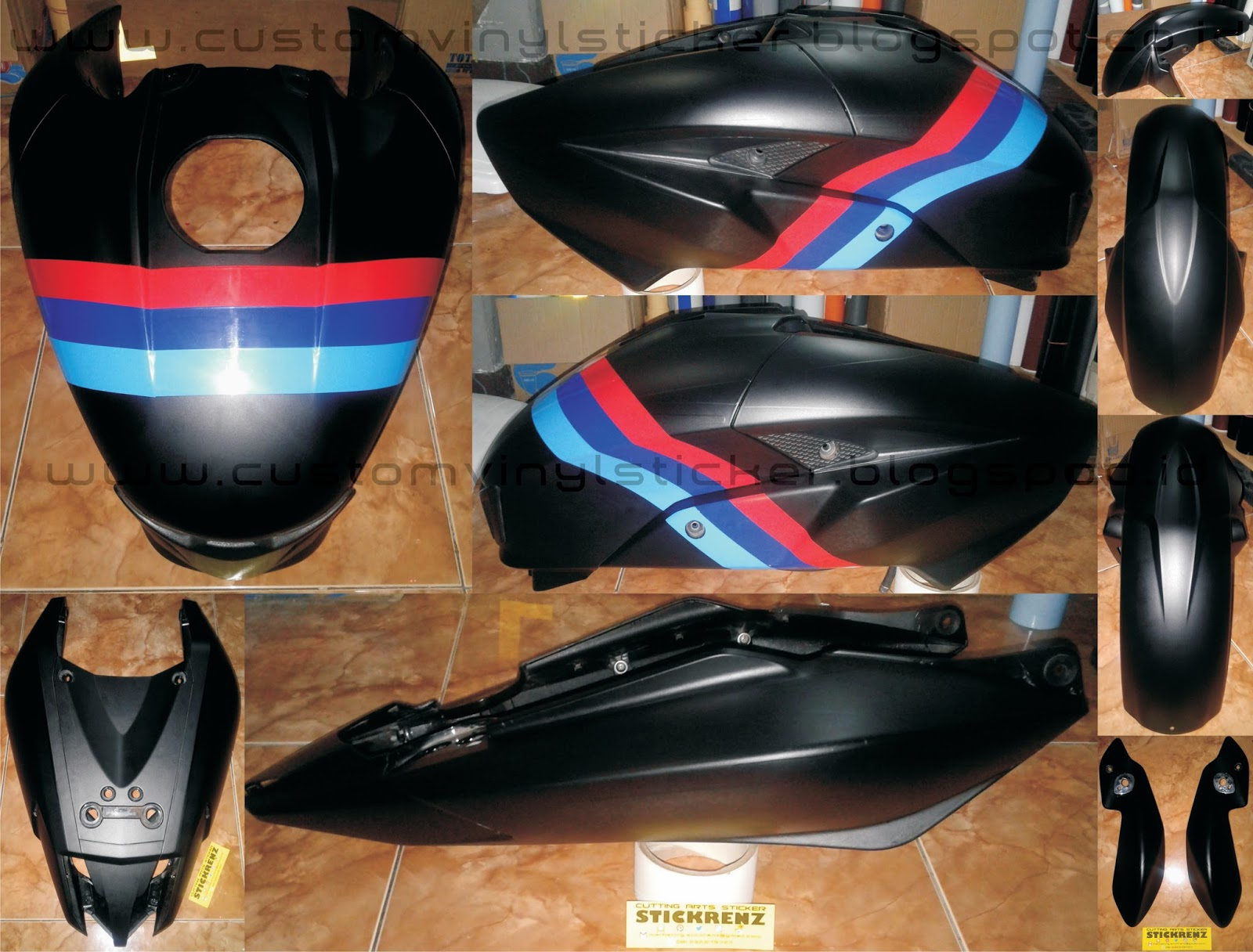 Kawasaki Bajaj 200NS Black Custom Body Wrapp & Stripe