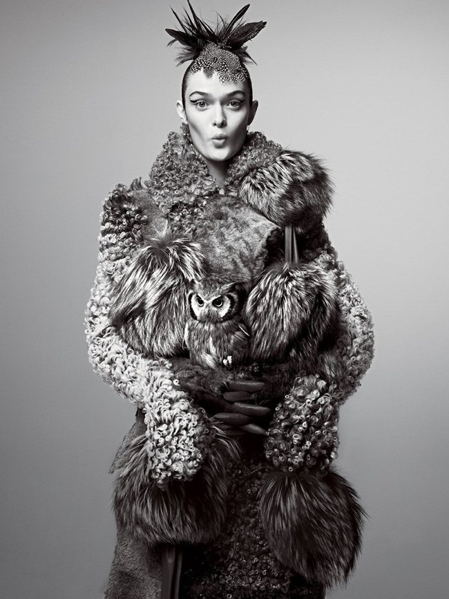 Céline 2015 AW Big Fur Pompoms Scarf Editorials