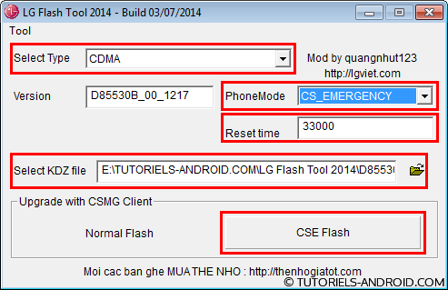 Configurer LG Flash Tool 2014