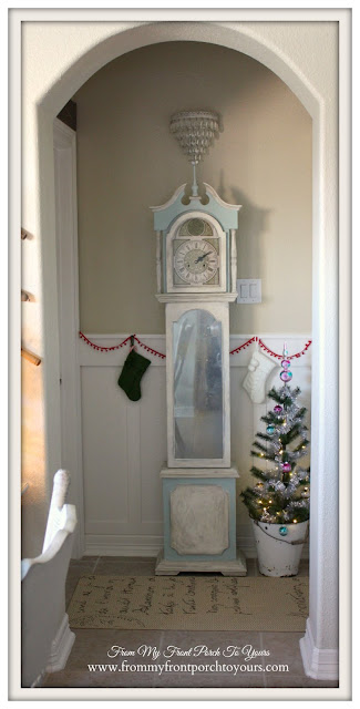 Farmhouse Christmas Kitchen-Guest Hallway-Vignette-Chlak Painted Clock-Duck Egg Chalk Paint-From My Front Porch To Yours