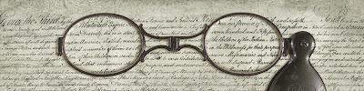 Eyeglasses over the text of the College Charter