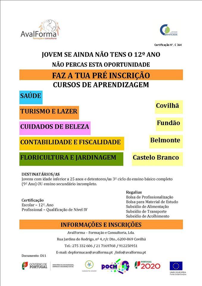 Cursos nível 4 para jovens que pretendam obter o 12º ano – Castelo Branco, Fundão, Covilhã e Belmonte