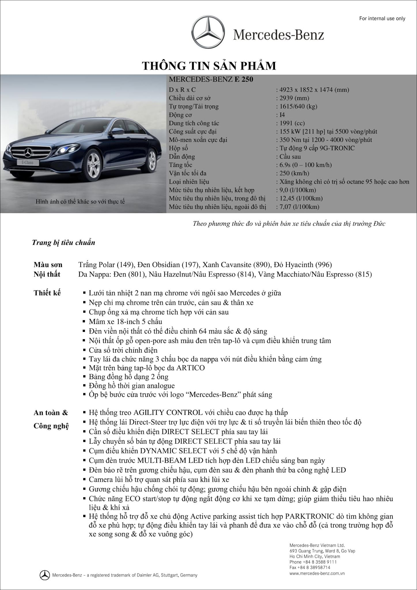 Bảng thông số kỹ thuật Mercedes E250 2019 tại thị trường Việt Nam